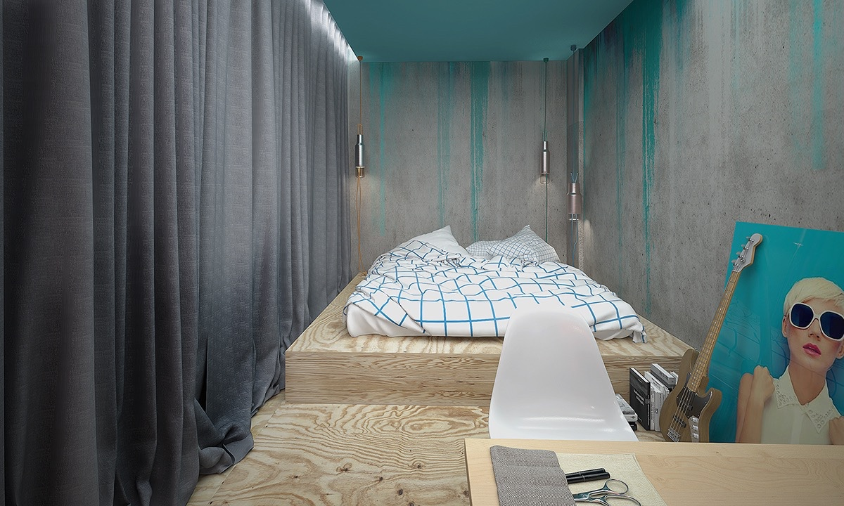artistic-teal-and-concrete-bedroom